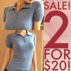 Baby Blue Vintage Cashmere Polo Sweater